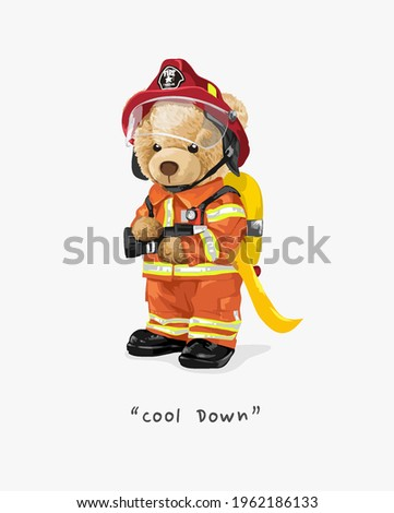 cool down slogan with cute bear doll in fire fighter uniform vector illustration