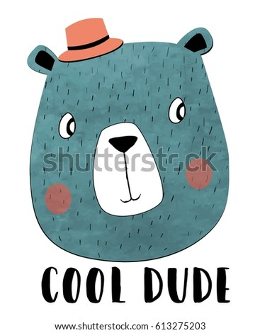 cool dude bear illustration