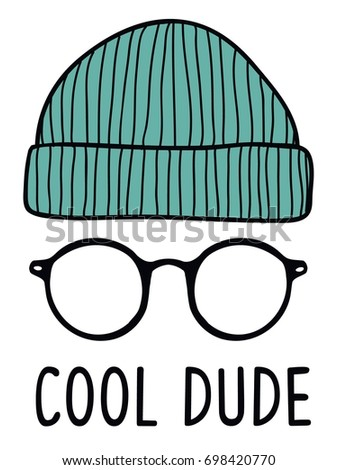 cool dude slogan with  glasses