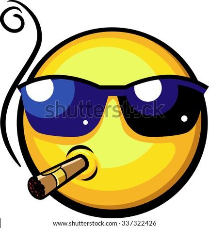cool emoji wearing sun glasses
