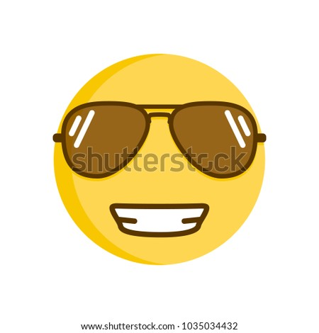 cool emoticon smiling in