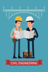 Cool flat design civil engineers characters standing full length reading blueprint together with road bridge project on background | Builders studying building scheme