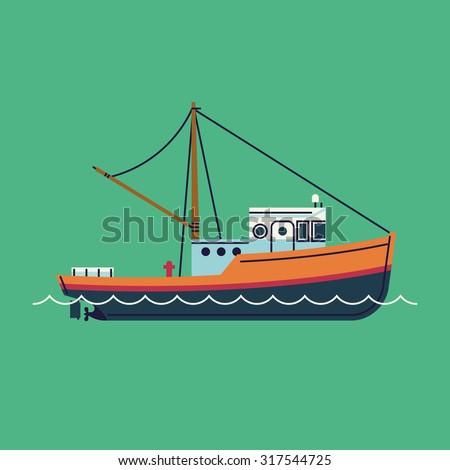 cool flat design fishing boat