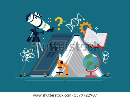 Cool flat design graphic element on science camp with telescope, microscope, science themed graphic elements and a camping tent in the shape of open book