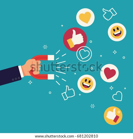 Cool flat design social media success and appreciation concept vector illustration. Hand holding magnet attracting likes, hearts and reaction smileys. Social media marketing in business