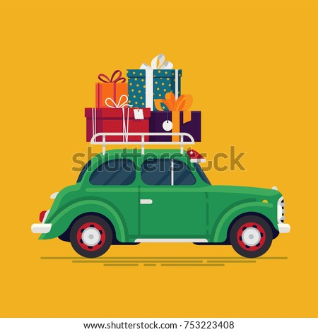 Cool flat design vector festive holiday design element on old fashioned car with stack of gift and present boxes on roof rack