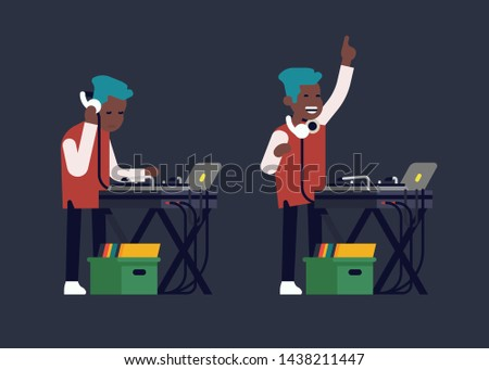 Cool flat design vector illustration on club DJ behind console with turntables playing music. Disc jockey concept visual