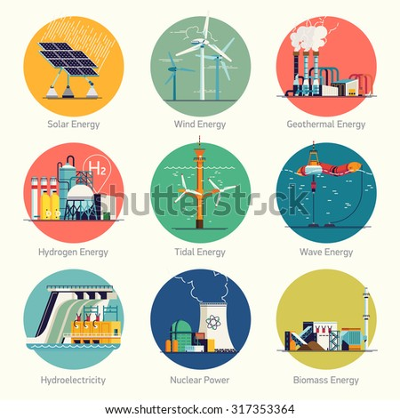Cool flat design vector set of round circle web icons on electricity generation plants and sources | Ecological friendly low and zero emission power plants and energy producing stations
