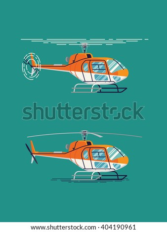 Cool flat design vector transportation design element on helicopter. Airway transfer aircraft helicopter standing and flying isolated illustration