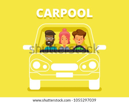 Cool flat vector illustration on carpool with driver and passengers characters. Diverse group of people shares car, front view