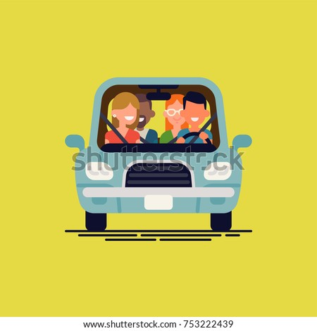 Cool flat vector illustration on carpool with simplified driver and passengers characters. Diverse group of people shares car, front view