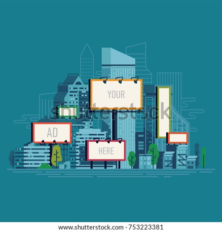 Cool flat vector illustration on city outdoors advertising agency with blank billboards of different sizes seen over the city streets and buildings