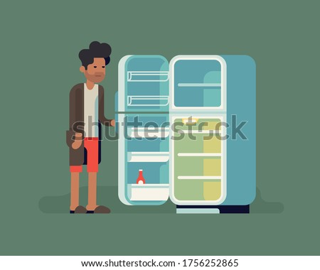 Cool flat vector illustration on empty fridge. Sleepy grumpy single man in underwear, slippers and bathrobe ran out of food because of lack of motivation to go out. Bachelor's fridge concept visual