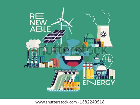 Cool flat vector illustration on Renewable Energy with happy cheerful Earth surrounded by renewable power source plants featuring solar energy, geothermal, nuclear and other energy source types