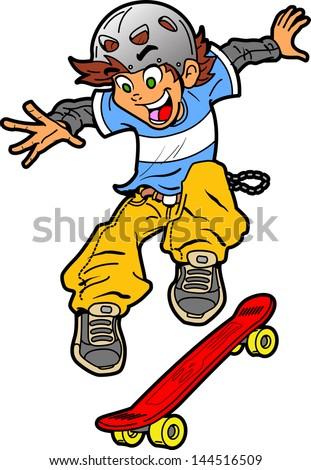 cool fun skateboarder doing an