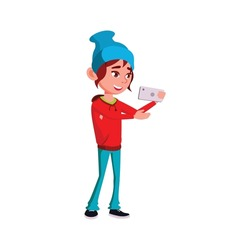 cool girl in hat taking selfie on cellphone cartoon vector. cool girl in hat taking selfie on cellphone character. isolated flat cartoon illustration