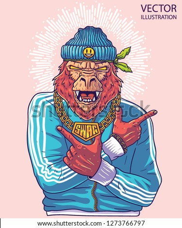 Cool gorilla rapper shows arms guns. Image for print on T-shirts and tee. Hip hop dancer tattoo. Gangster monkey with gold chain. Cover for rap album. Vector illustration on light background