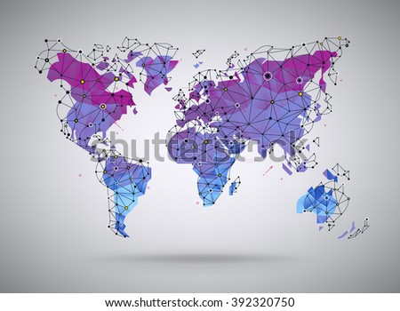 Vector mapamundi multicolor punteado descargue grficos y vectores cool gradient colored polygonal world map illustration with wireframe polygonal mesh elements and dots ideal gumiabroncs Choice Image