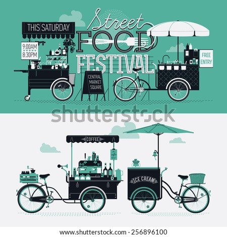 Cool graphic poster, flyer or horizontal banner design elements on Street food festival event with retro looking detailed vending portable carts selling coffee, hot dogs and ice cream. Cool lettering