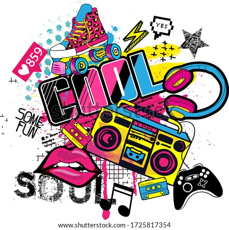 cool grunge print with tape recorder, lips, rollers, spray paint Background for prints, clothes, t shirt, child .Urban original design