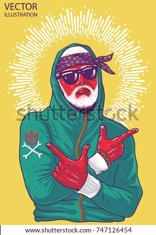 Cool guy rapper shows arms guns. Image for print on T-shirts and souvenirs. Hip hop dancer tattoo. Gangster with white beard. Cover for rap album. Layered vector illustration on yellow background