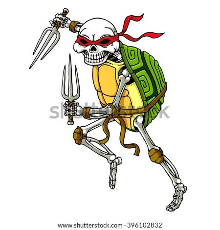cool hand draw turtle ninja