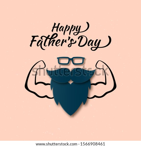 Cool Happy Father's Day Papercut greeting card with Muscular Man. Men Glasses, Mustache, Beard Layered Paper art flat style. Cute Father, Dad gift on your blog, website. Vector Sport club, gym concept