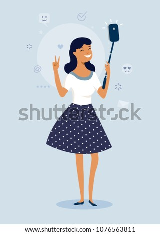 Cool happy girl making selfie photo with Smartphone. flat character design, vector illustration
