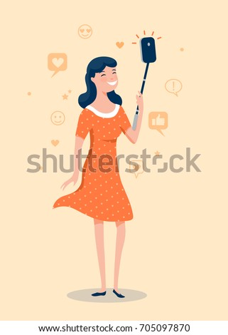 Cool happy girl making selfie photo with Smartphone. Vector illustration
