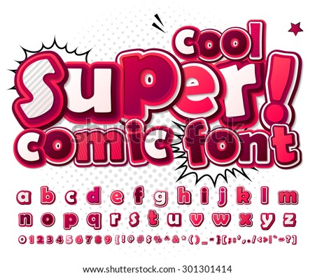 Cool high detail comic font in pink colors. Alphabet in style of comics, pop art. Multilayer colorful 3d letters and figures for kids' illustrations, comics, banners. Letters are painted differently