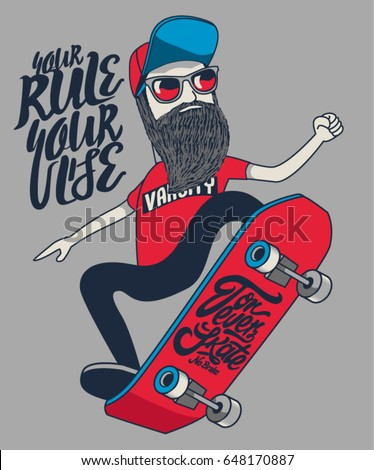 cool hipster skater vector design with skateboard