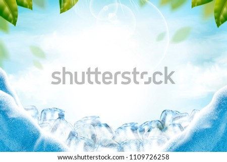 cool ice background with green
