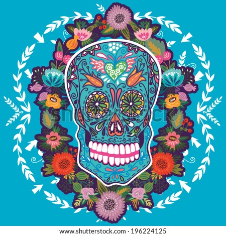 Cool illustration with Skull and floral ornament in bright colors Fashion skull