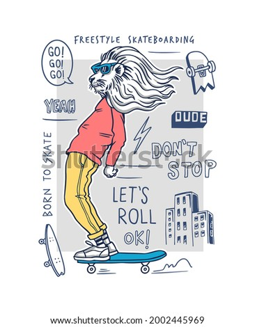 Cool leon skateboarding vector illustration with doodles for t-shirt prints, posters and other uses. Сток-фото ©