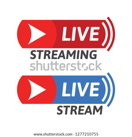 Cool live stream icon. Streaming button concept. Vector flat illustration.