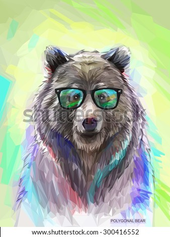 Cool low poly hipster animal, bear portrait. Background with wild animal. Low poly spectacled bear with fluffy fur. Vector illustration eps 10