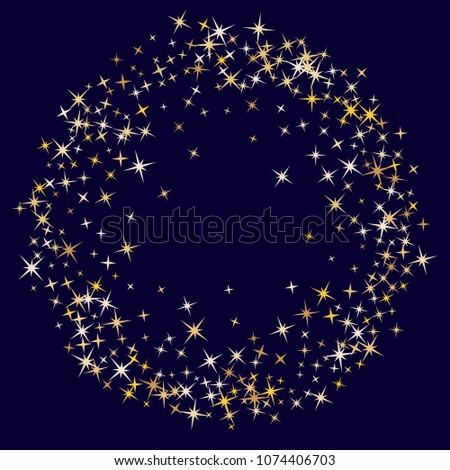 Cool magic stars gold falling sparkle texture circle border vector. Glitter confetti, shining sparkles pattern design on dark. Glossy golden stars vector gold tinsel lights background. Round frame.