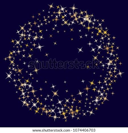 Cool magic stars gold falling sparkle texture circle border vector. Glitter confetti, shining sparkles pattern design on dark. Glossy golden stars vector gold tinsel lights background. Round frame.