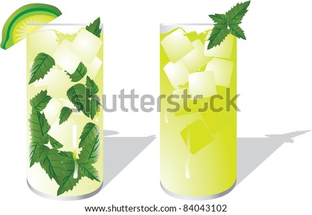 Cool mint drinks A mojito and a mint julep on a white background.