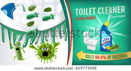 Cool mint fragrance toilet cleaner ads. Cleaner bobs kill germs inside toilet bowl. Vector realistic illustration. Horizontal banner.