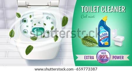 Cool mint fragrance toilet cleaner gel ads. Vector realistic Illustration with top view of toilet bowl and disinfectant container. Horizontal banner.