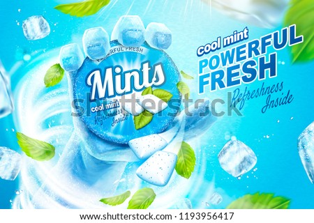 Cool mints ads with frozen hand holding the product in the blizzard, flying ice cubes and mint leaves in 3d illustration