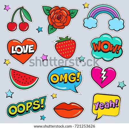 Cool modern colorful patch set on gray background. Fashion stickers of cherry, strawberry, watermelon, lips, rose flower, rainbow, hearts, retro comic bubbles, stars . Cartoon 80s-90s pop art style #721253626