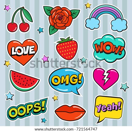 Cool modern colorful patch set on gray background. Fashion stickers of cherry, strawberry, watermelon, lips, rose flower, rainbow, hearts, retro comic bubbles, stars. Cartoon 80s-90s pop art style #721564747