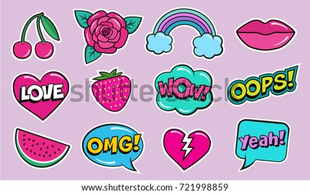 Cool modern colorful patch set on pink background. Fashion stickers of cherry, strawberry, watermelon, lips, rose flower, rainbow, hearts, retro comic bubbles, stars . Cartoon 80s-90s pop art style #721998859