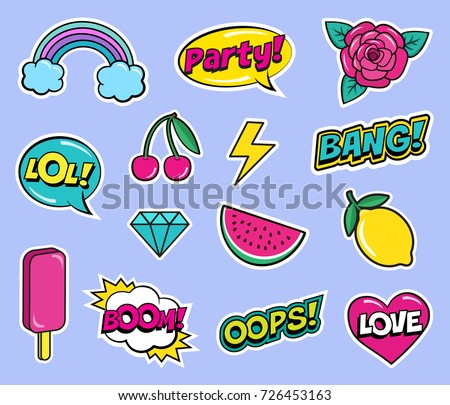Cool modern colorful patch set on violet background. Fashion stickers of cherry, lemon, watermelon, rose flower, ice cream, rainbow, hearts, diamond, comic bubbles etc. Cartoon 80s-90s pop art style #726453163