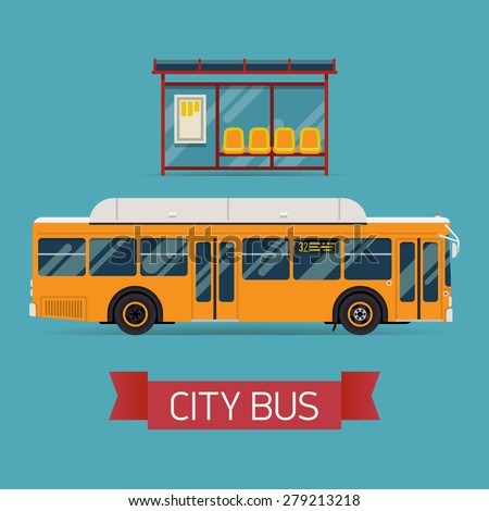 Cool modern flat design public transport items bus stop structure and city transit shorter distance bus, side view, isolated