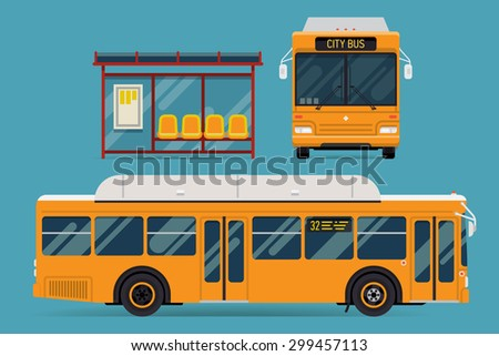 Cool modern flat design public transport items bus stop structure and city transit shorter distance bus, side and front view, isolated