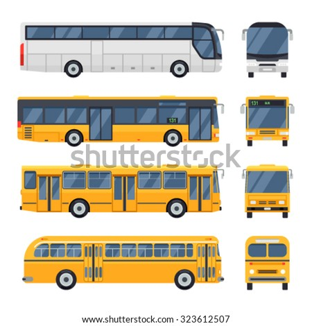 Cool modern flat design public transport items city transit shorter distance bus, side and front view. Retro vintage bus. Big tour bus.