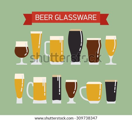 Cool modern vector flat design on draught beer glassware. Ideal for graphic and motion design in bars and restaurants industry. Featuring stout, lager, porter, ale, pilsner and other beer glasses Stock photo ©